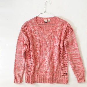 ROXY Crew Cable Knit Sweater, Marled Salmon, M